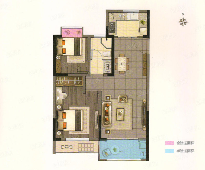 B, 2室2厅1卫