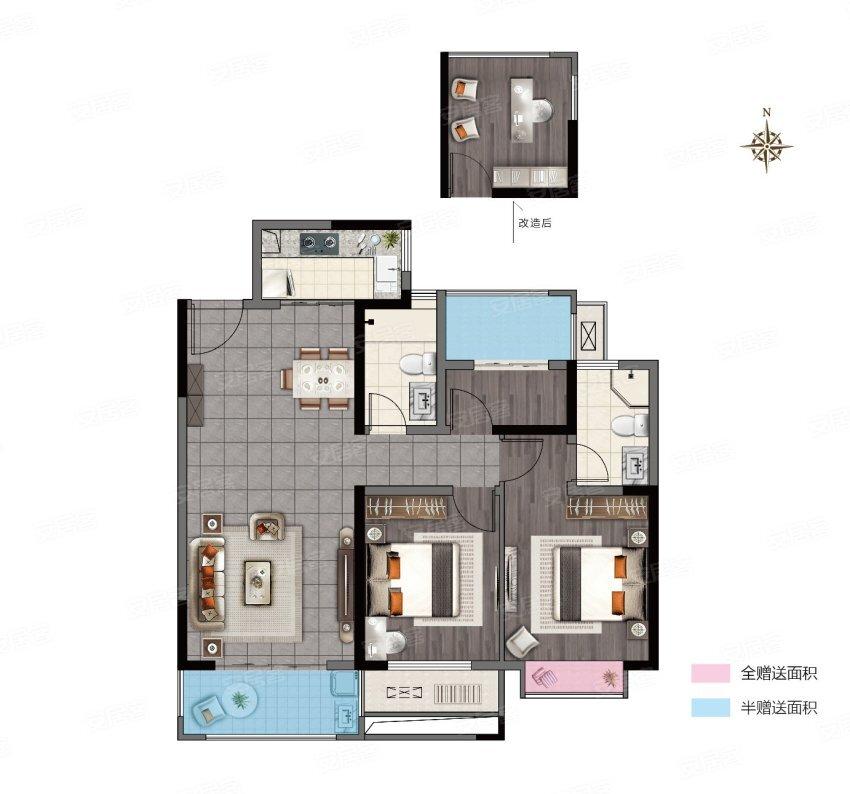 C, 3室2厅2卫1厨