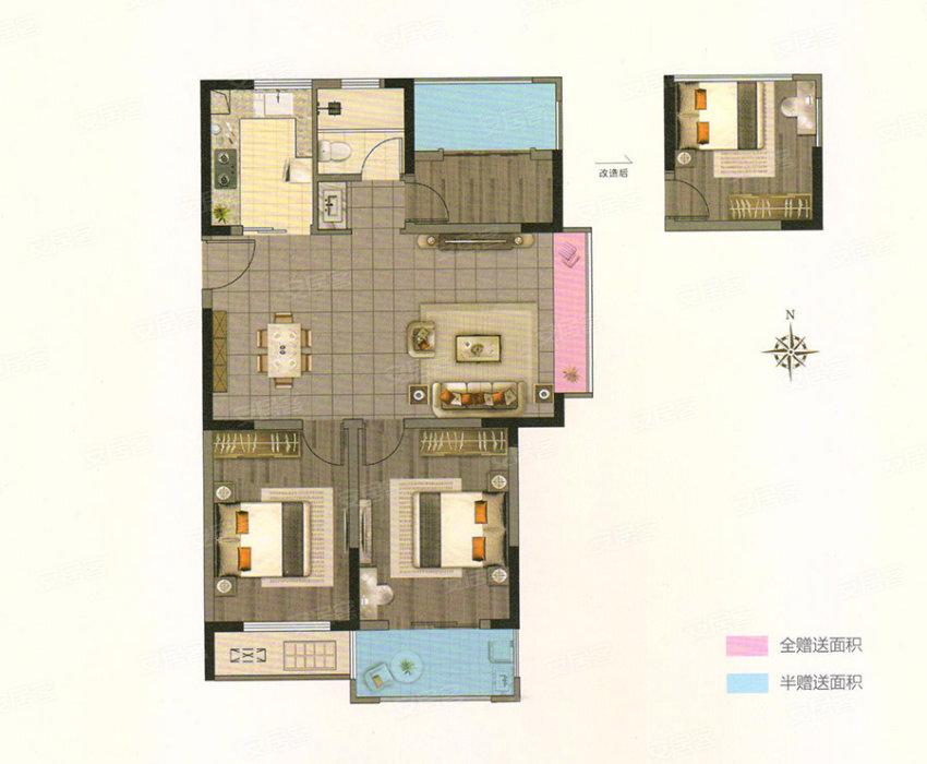D, 3室2厅1卫0厨